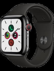 Apple Watch Series 5 LTE 44 мм Сталь черный космос/Черный спортивный MWW72