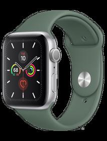 Apple Watch Series 5 44 мм Алюминий серебристый/Зелёный спортивный MWUV2