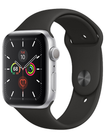 Apple Watch Series 5 44 мм Алюминий серебристый/Чёрный спортивный MWT32