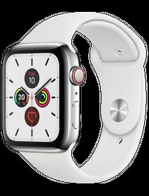 Apple Watch Series 5 LTE 40 мм Сталь серебристый/Белый спортивный MWWR2