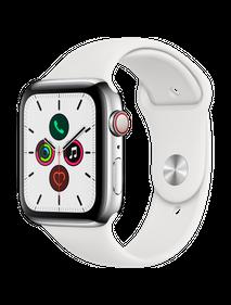 Apple Watch Series 5 LTE 44 мм Cталь серебристый/Белый спортивный MWW22
