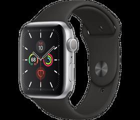 Apple Watch Series 5 LTE 44 мм Алюминий серебристый/Черный спортивный MWQK2