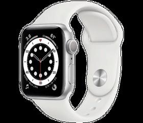 Apple Watch Series 6 LTE 44 мм Сталь серебристый / Белый спортивный M09D3