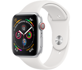 Apple Watch Series 5 44 мм Алюминий Серебристый/Белый спортивный MWVD2