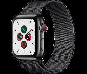 Apple Watch Series 5 (LTE) 40 мм Сталь Чёрный/Миланский чёрный MWX52