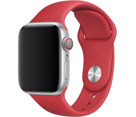 Apple Watch Series 5 44 мм Алюминий серебристый/Красный спортивный MU9N2