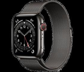Apple Watch Series 6 LTE 44 мм Сталь графитовый / Миланский чёрный M09J3