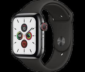 Apple Watch Series 5 (LTE) 44 мм Сталь Чёрный Космос/Чёрный спортивный MWWK2