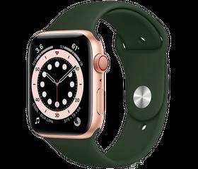 Apple Watch Series 6 LTE 44 мм Сталь золотистый / Зелёный спортивный M09F3