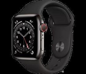 Apple Watch Series 6 LTE 40 мм Сталь графитовый / Чёрный спортивный M06X3