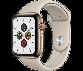Apple Watch Series 5 LTE 44 мм Сталь золотистый/Песочный спортивный MWW52