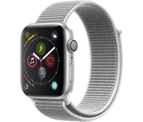 Apple Watch Series 4 LTE 44 мм Алюминий серебристый/Нейлон белая ракушка MTUV2